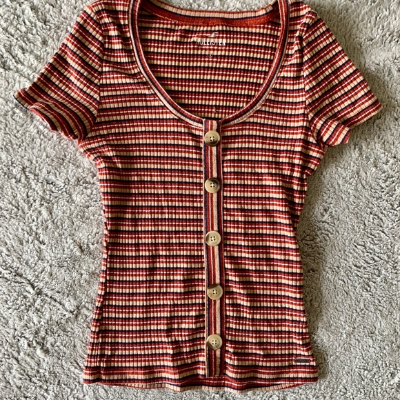 Hollister Ribbed Striped Button Down Short Sleeve